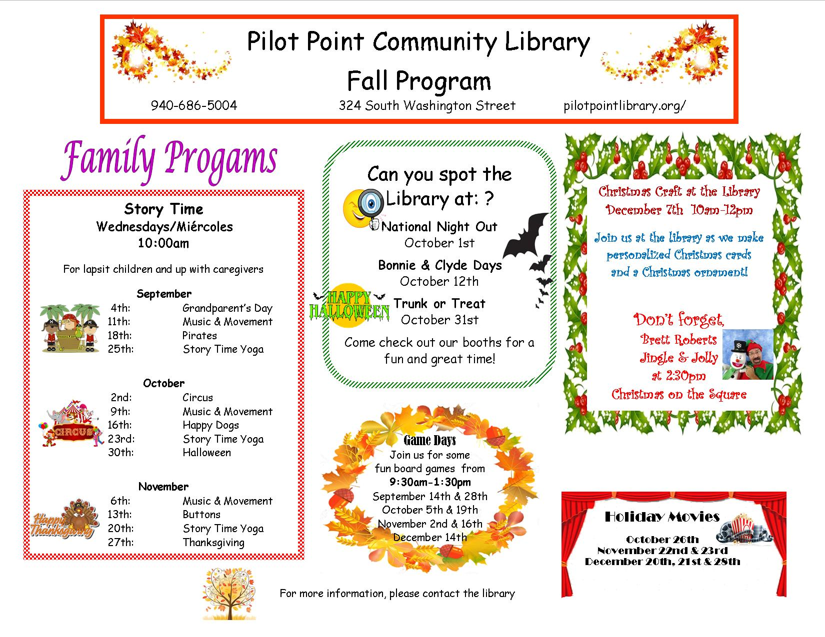 2019 Fall Family program flier